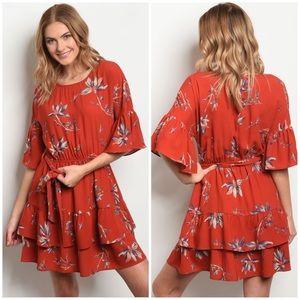 Dresses & Skirts - MIYA RUST EARTH FLORAL DRESS
